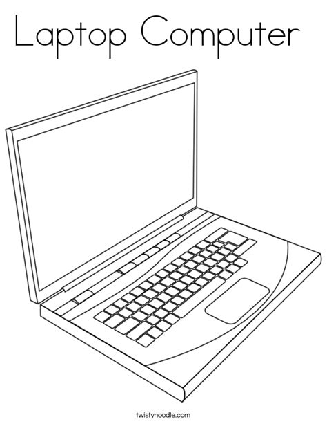Laptop Computer Coloring Page Twisty Noodle Coloring Pages On The Computer