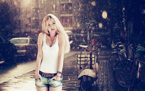 wallpaper of girl in rain blonde girl in rain wallpaper