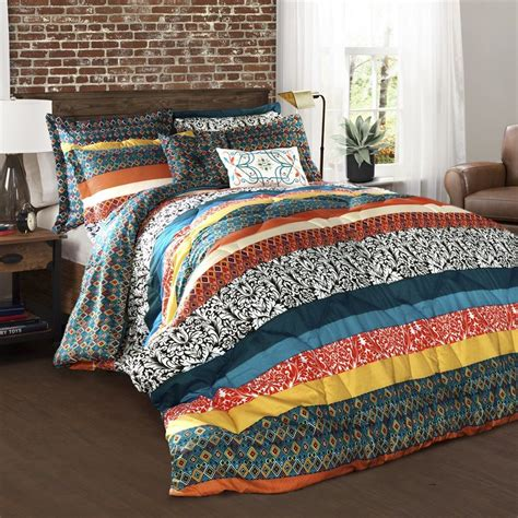 turquoise bedding queen shop lush decor boho stripe 7 piece turquoise tangerine