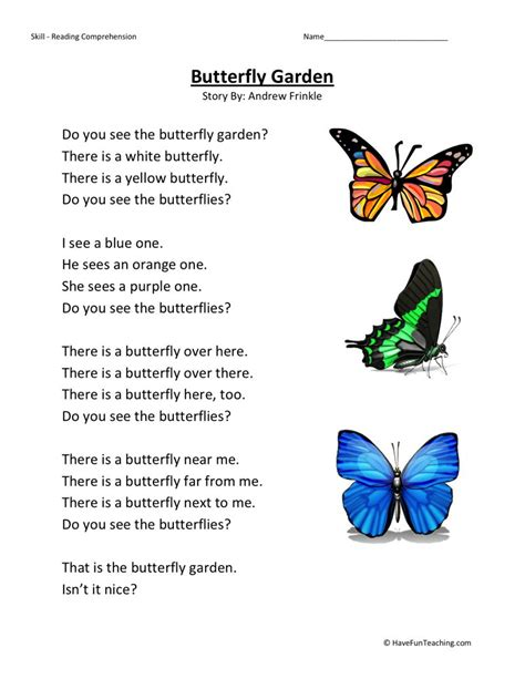 reading comprehension worksheet butterfly garden