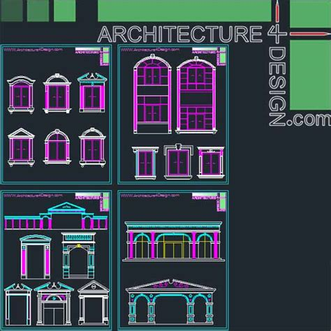 Samples Draw My House classical architecture style facades parts for autocad