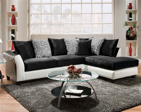 white and black sectional black and white couch pattern pillows zigzag 2 piece