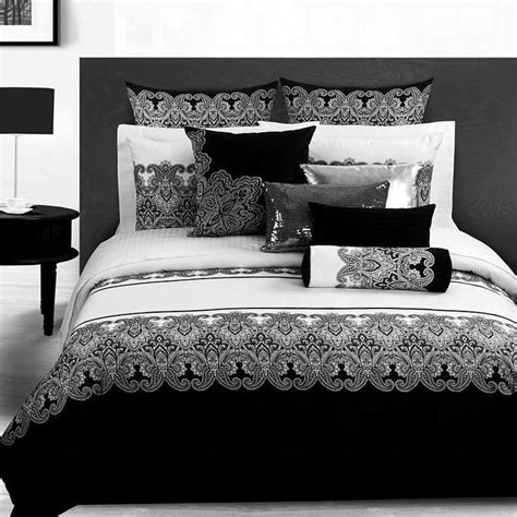 Retro Bed Sets Black White Retro Printed Bedding Sets King Size 4pcs Cotton Quilt Duvet Cover Bed Linen