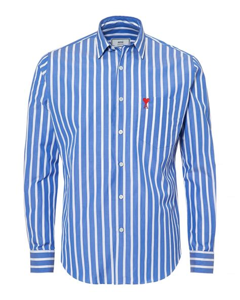 White And Blue Shirt ami mens summer fit broad stripe blue white shirt