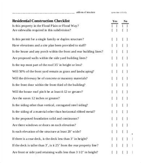 building new house checklist construction checklist template 14 free word pdf
