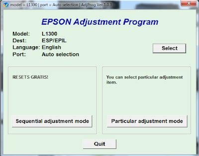 epson l1300 resetter adjustment program free downloads softwares