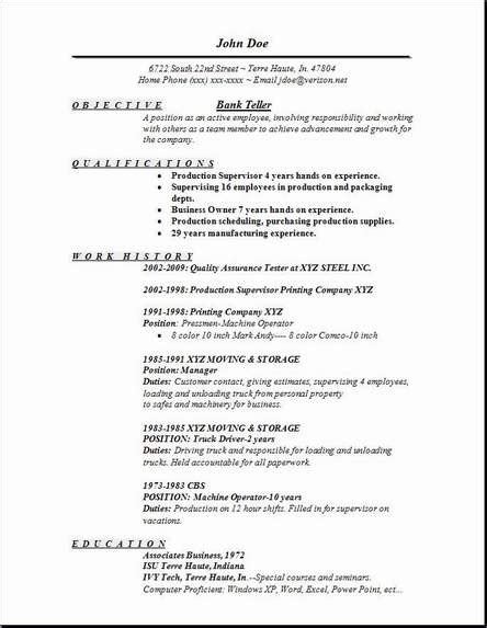 Resume Format Of Banking Sle Resumes For Bank Tellers Search Career Resume Banking Bank