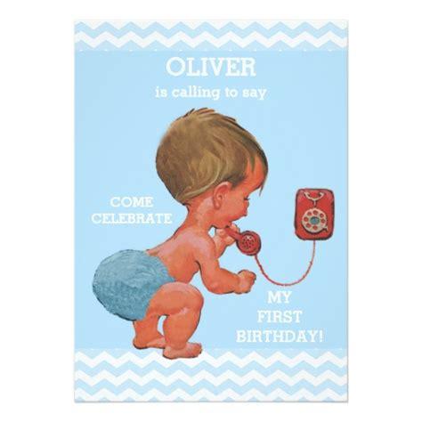 baby boy 1st birthday invitation cards baby boy on phone 1st birthday chevrons invitation card ladyprints