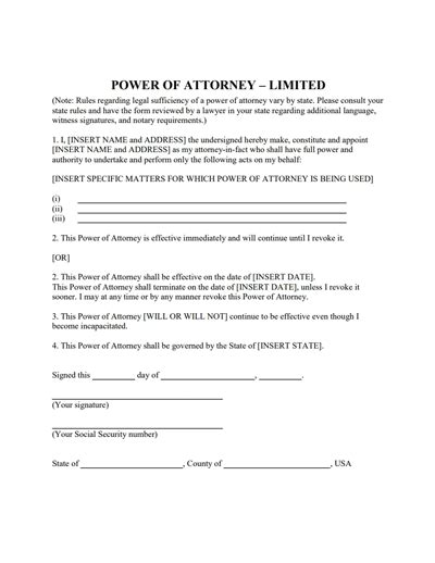 specific power of attorney template business template
