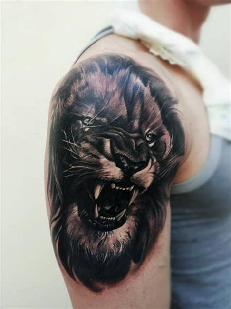 realistic lion tattoo shoulder realistic by tattooer