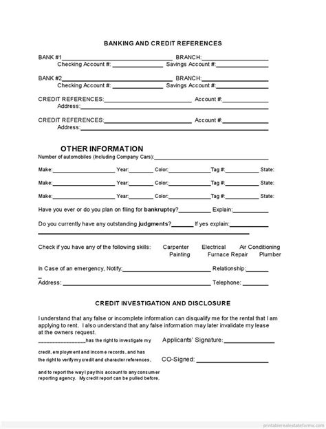 printable rental application form free printable tenant rental application template 2015 sle