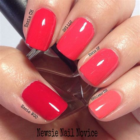 coral color nails coral nail comparison cremes opi corals essie