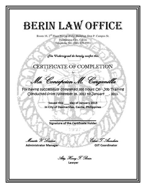 certificate  ojt  condocx