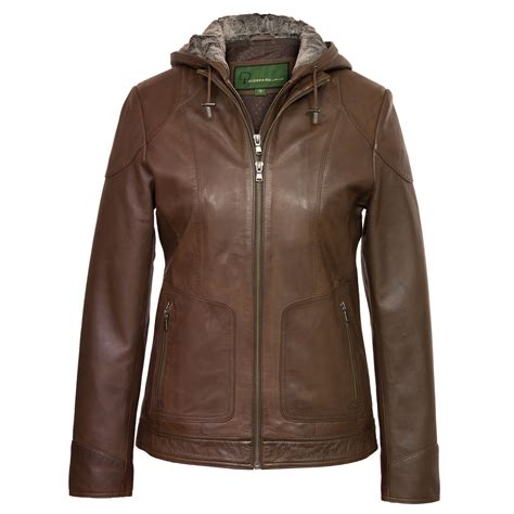 leather biker jackets for sale heidi ladies hooded leather jacket brown hidepark