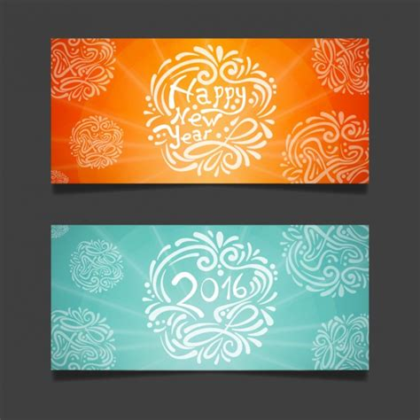 free vector new year banner ornamental new year 2016 banners vector free