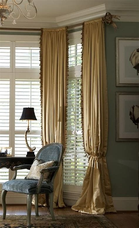 drapery hardware for bay window beautiful ruffle trim and white shutters on pinterest
