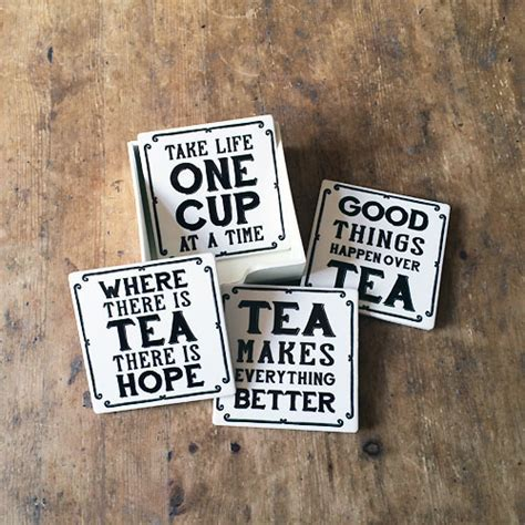 Vintage Tea Quotes Coasters in Wooden Holder