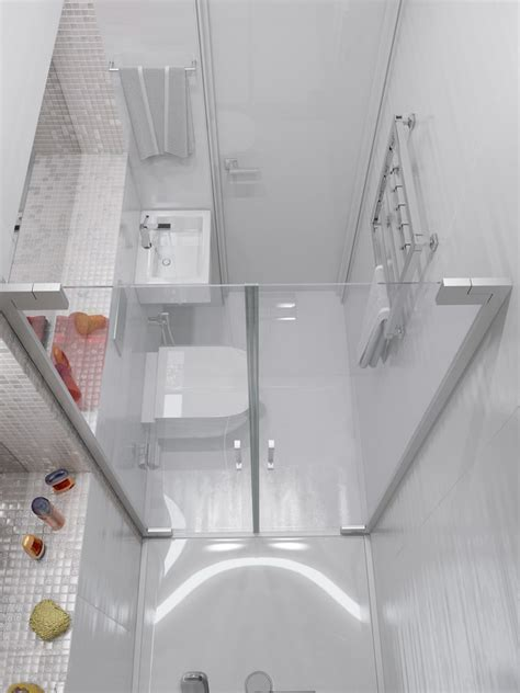 tiny bathroom with shower sparkling white apartment with hideaway home offices