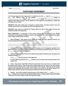 Template For Purchase Agreement by Purchase Agreement Form Create A Free Purchase Agreement