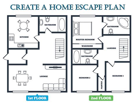 create a house floor plan fire escape plan emc security