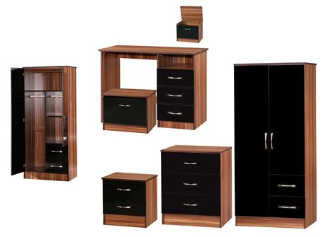 Black Gloss Walnut Bedroom Furniture Marina Black Walnut High Gloss Bedroom Furniture Sets Wardrobe Drawers Bedside Ebay