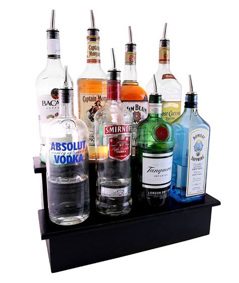 black wooden liquor bottle display shelves 2 tier step
