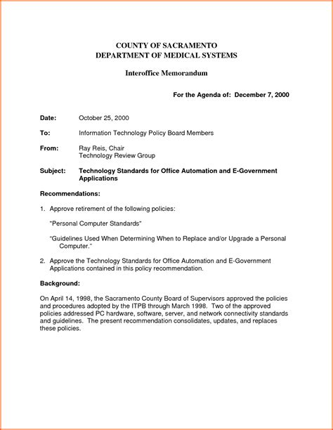 memorandum template interoffice memo report assignment