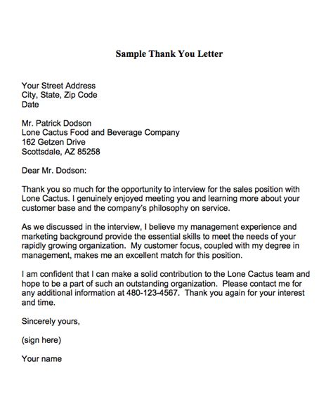 sle of thank you cover letter thank you letters are used to express appreciation to an