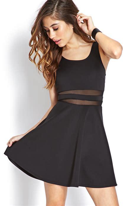 Dress Forever 21 forever 21 bombshell mesh striped dress in black lyst