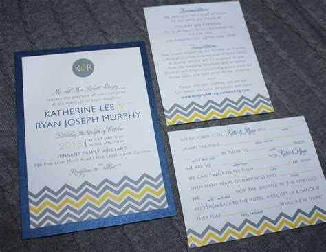 Wedding Invitation Yellow And Blue by Gray Yellow Blue Chevron Monogram Wedding Invitations