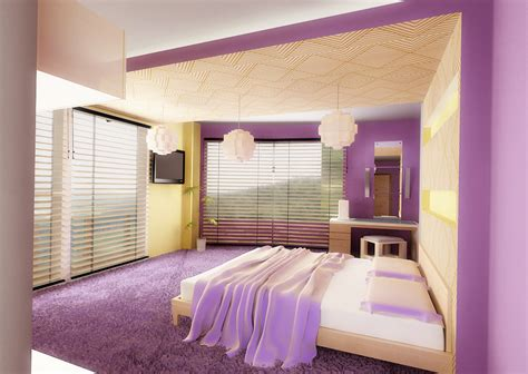 purple bedroom accessories bed bedroom decor interior lights purple image