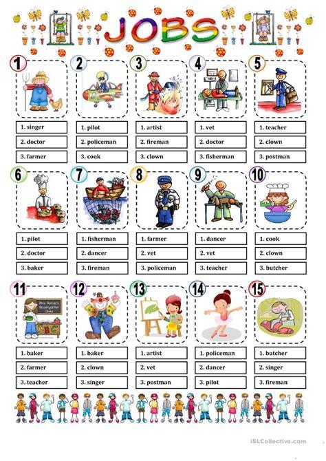 free printable english worksheets occupations jobs multiple choice worksheet free esl printable