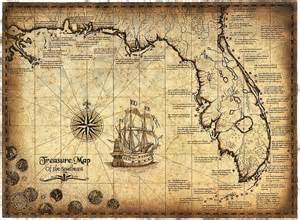 treasure maps florida treasure map of the southeast limited edition 16 quot x 22