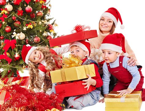 child and petprof xmas tree family with open gift box stock photo image 27569186