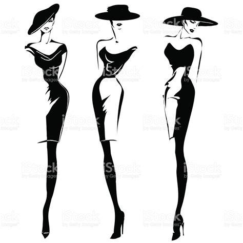 White Black Sketch black and white retro fashion models set in sketch style