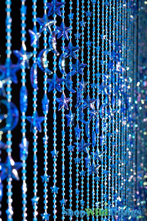 curtains beads beaded curtains stars moons celestial blue