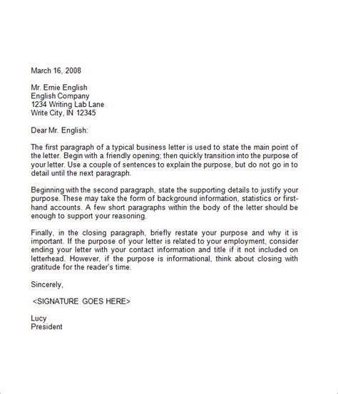 Writing A Business Letter Template 7 business letter sle
