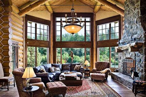 luxury log home interiors great room dream home pinterest