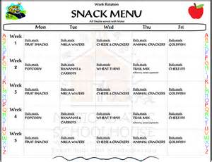 Preschool Menu Template by Preschool Snack Menu Frisco Preschool Kindergarten