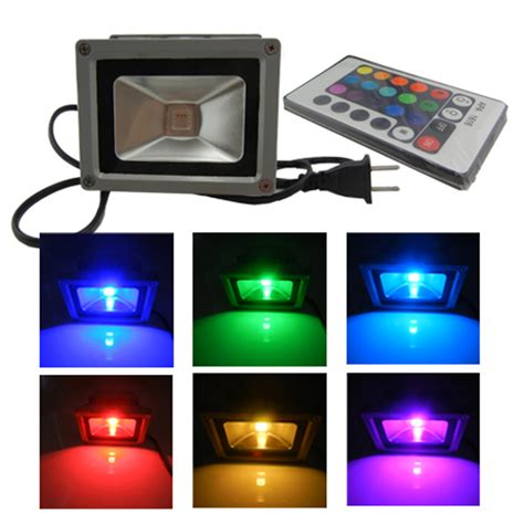 Rgb Led Flood Lights Outdoor Waterproof Remote 10w Rgb Led Outdoor Floodlight Flood Light L 900lm Ebay