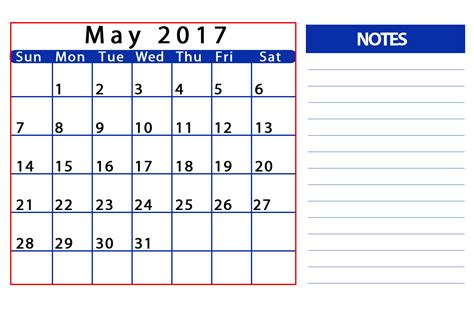 May Calendar Word May 2017 Printable Calendar Template Holidays Excel