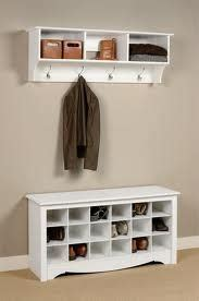 Entryway Shoe Storage Bench And Wall Mount Hutch Shoe And Hook Storage For The Hallway House Pinterest