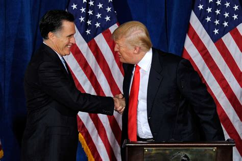 donald trump hands mitt romney and donald trump battle for handshake supremacy