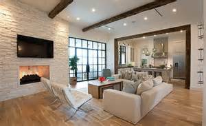 modern living room designs with open plan kitchens note fire under tv wood around frame for