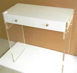 white lucite personal desk or vanity