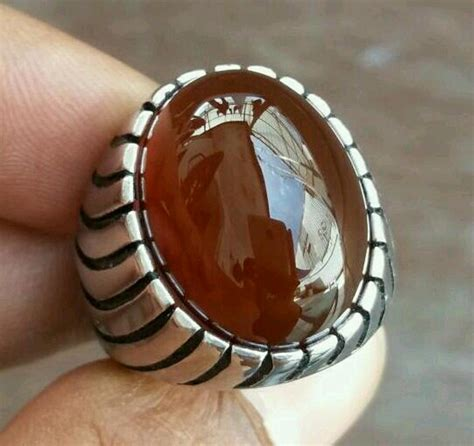 Perhiasan Batu Cincin Yaman Wulung Coklat Tua Asli batu cincin yaman wulung coklat tua original
