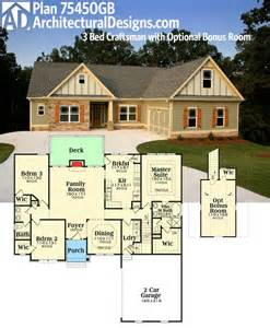 optional bonus room house plans one level with bedroom rambler