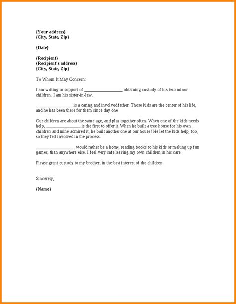 Custody Letter character letter for child custody articleezinedirectory