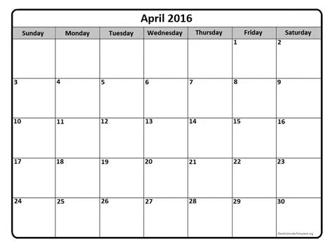 printable monthly blank calendar 2016 april 2016 calendar april 2016 calendar printable