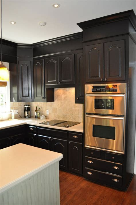 contemporary small kitchen designs black wooden cabinet